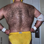 very hairy large mans back