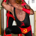 very aggresive musclebears wrestling